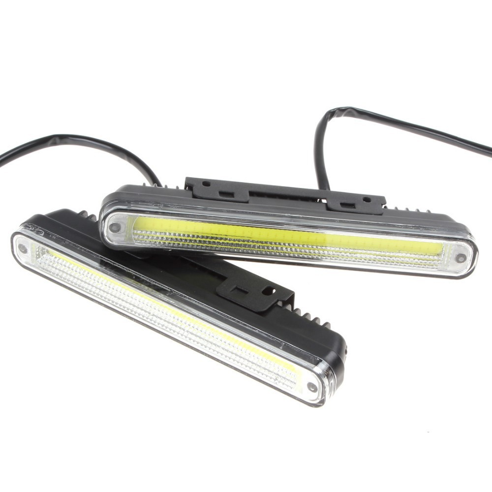 2 x 20cm COB LED Vehicles Car Daytime Running Light DRL With Installation Bracket Super White Light Warning Security Lamp
