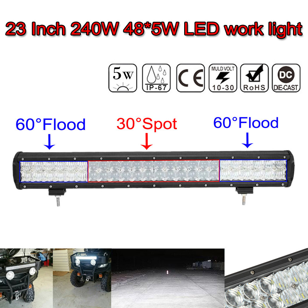 23inch 240W Waterproof IP 68 Spot Flood Combo 5D Lens LED Light Bar Flood Spot Combo Work Lamp SUV ATV 4WD