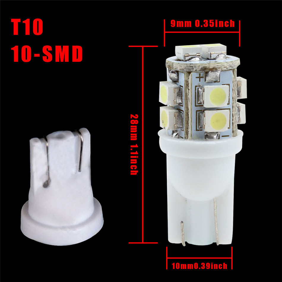 20PCS Universal Car 10 SMD 1210 LED Light T10 Side Wedge Bulb Super White Lamp Turn Signal Light Corner Light Side Marker Light