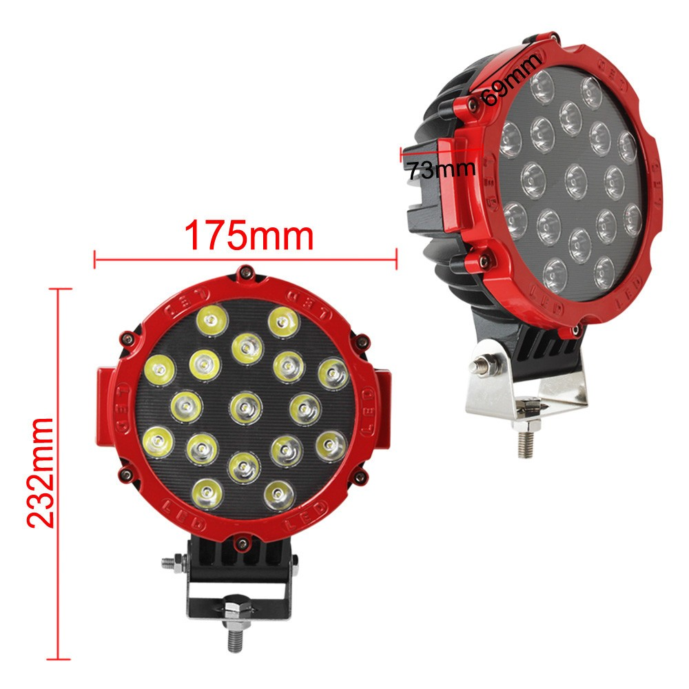 51W 13740LM Black 7x LEDS Work Spot Flood Beam Light Car Vehicle 4WD Lamp DC 10 30V