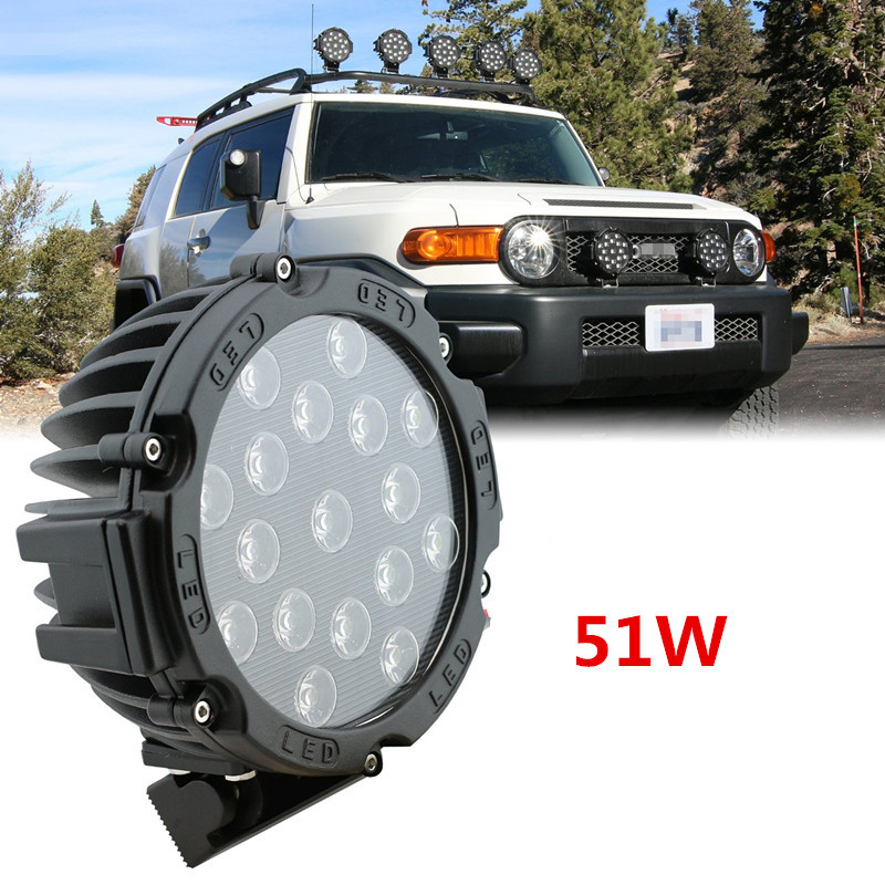 51W LED Work Light Bulbs Spot Flood Combo Beam For Driving Fog Lights Led Car Lights SUV Car Used 12v 24v led lamp led headlight