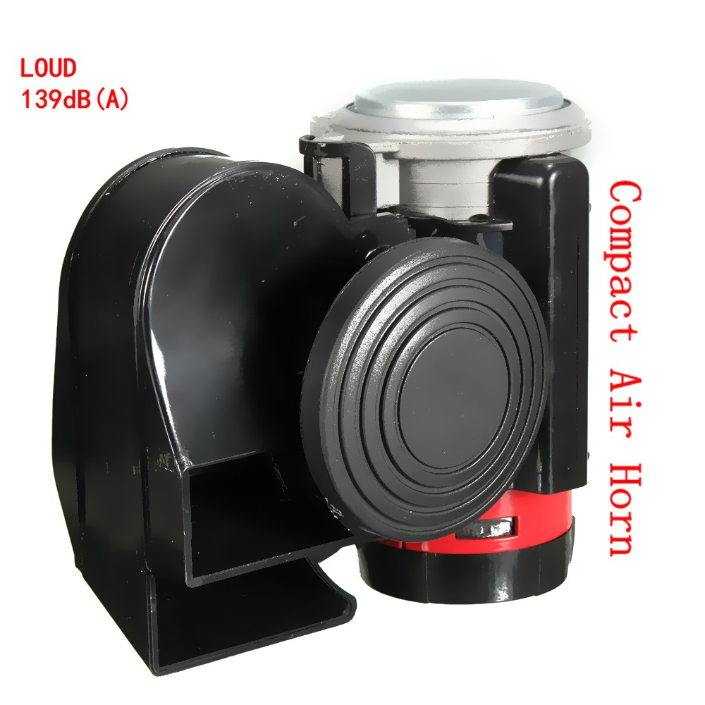 139db Black Snail Compact Dual Air Horn for Car Vehicle Motorcycle Yacht Boat SUV Bike 12V