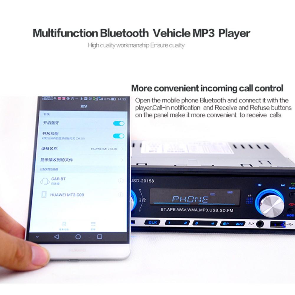 Bluetooth Black Car Stereo Audio 1 DIN In-Dash FM Radio Aux Input