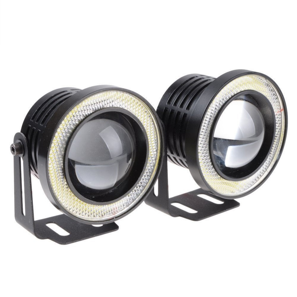 2Pcs 3 Car COB LED Fog Light Projector White Angel Eye Halo Ring DRL Driving BulbsFits car with the size of 3 light holes.