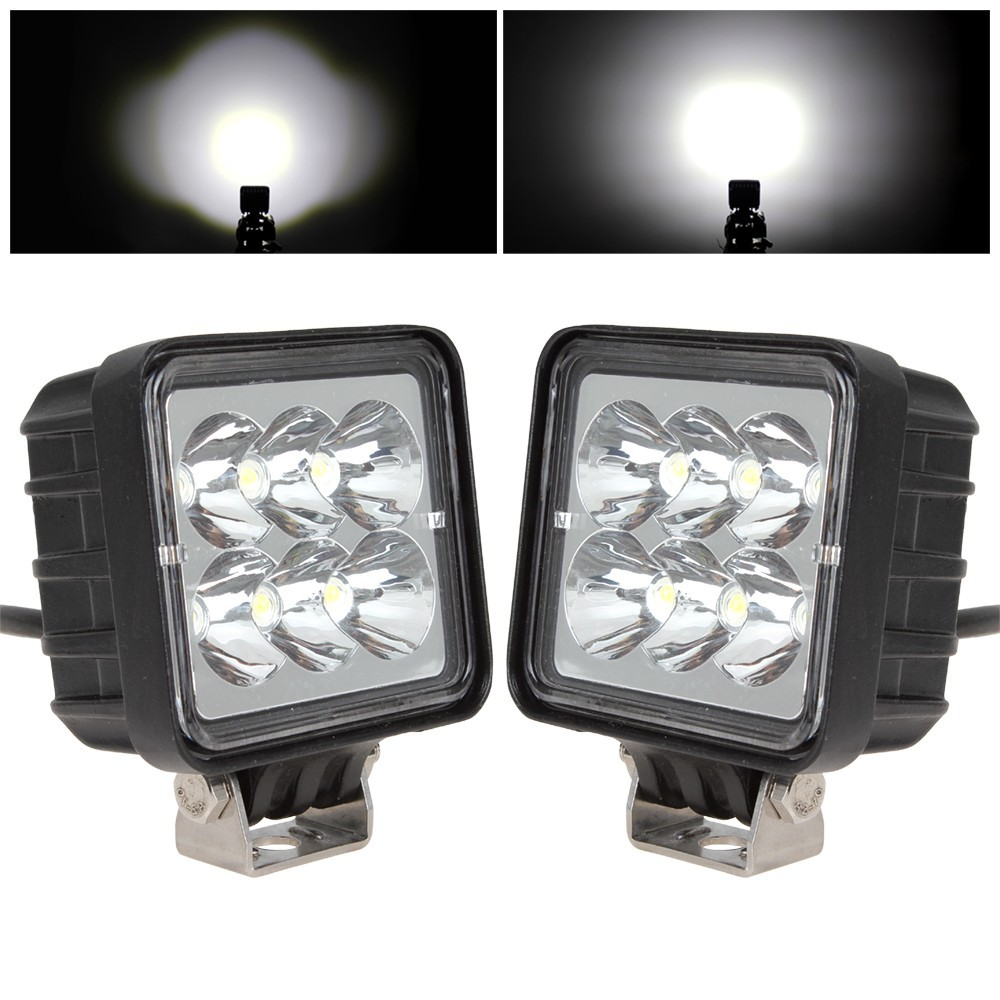 1Pair 3 Inch 12V 24V 1530LM LED Car Work Light 18W Waterproof Square for Motorcycle Tractor Boat 4WD Offroad SUV ATV