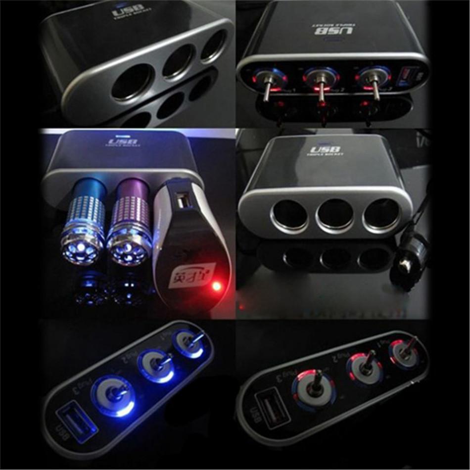 3 Way Car Phone Gps Mp3 Player Tv Cigarette Lighter Socket Splitter Switch For With Led Light
