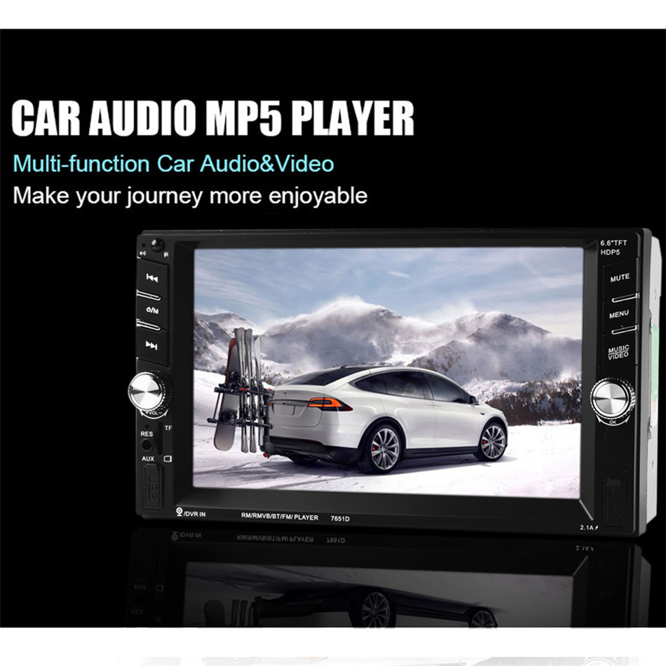 Multi function 6.6 HD Touch Screen Bluetooth 2DIN Audio Radio In Dash Stereo USB MP3 MP5 Player Support Fast Cellphone Charging