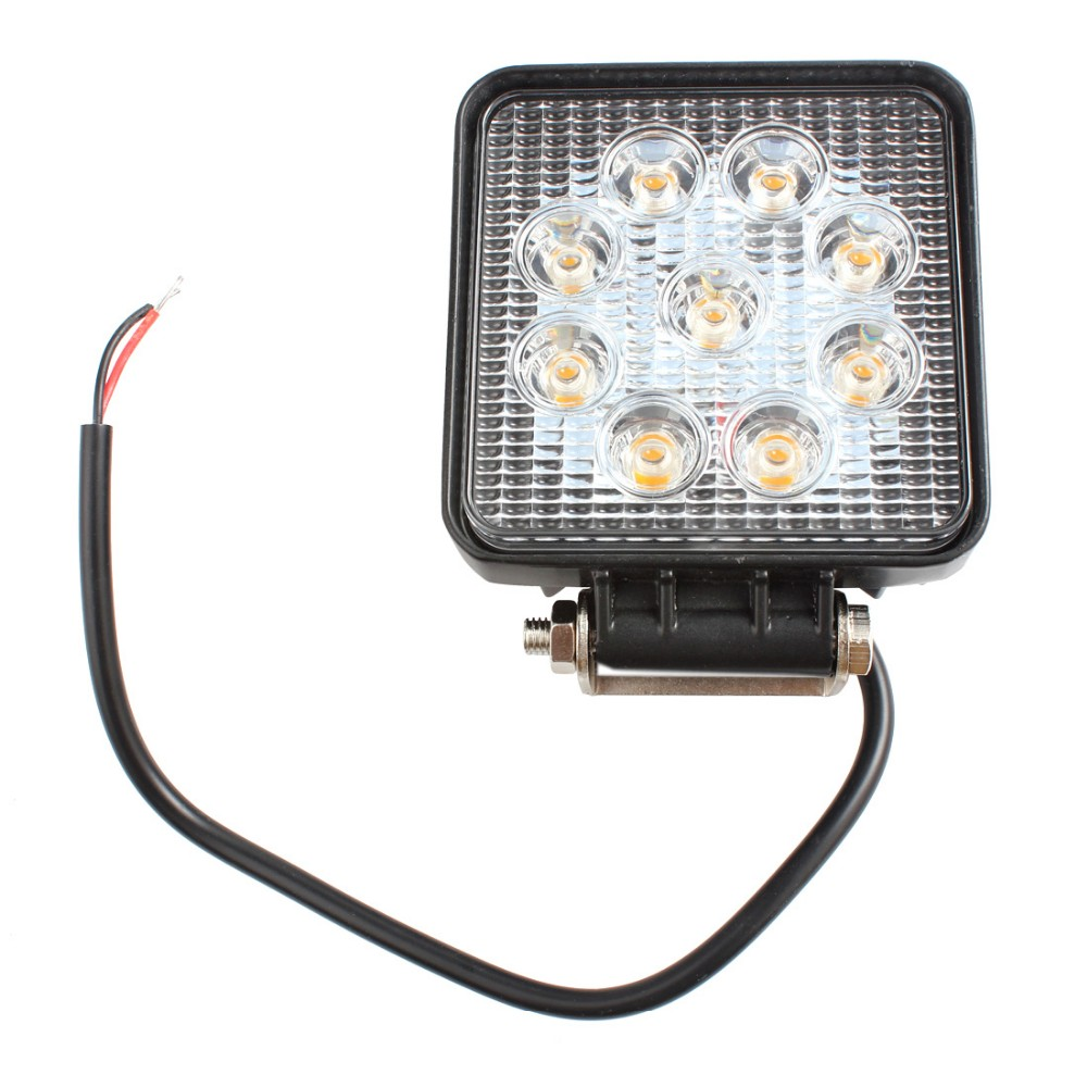 4 27W Square Yellow Light LED Spotlight Car Work Light Lamp Waterproof For Motorcycle Truck Tractor SUV