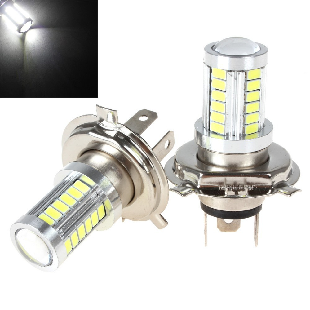 One Pair DC 12V H4 Socket 5630 33SMD LED White Light Motorcycle Head Driving Daylight Car Fog Light DRL Lamp