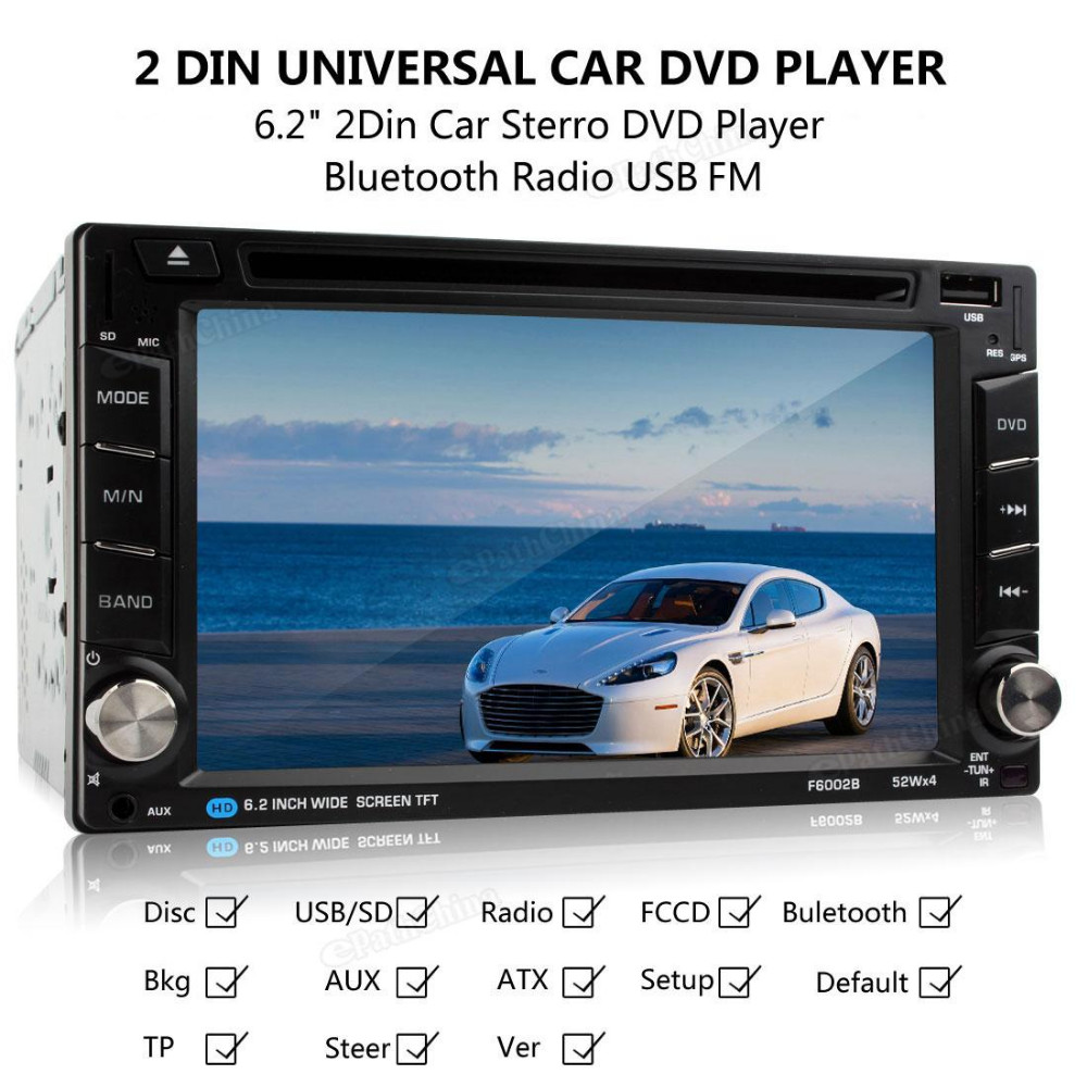F6002B 6.2inch800 x 480Resolution Touch Screen Wireless Remote Control2 DIN Car InDash FM Radio Receiver Bluetooth DVD CD Player