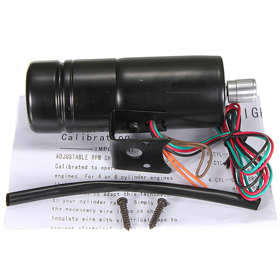Universal Adjustable Tachometer RPM Tacho Gauge Shift Light Blue LED ...