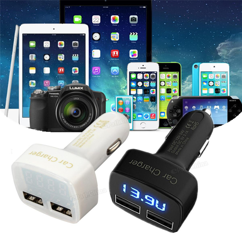 Universal Multi function 4 in 1 3.1A Dual USB Car Charger Adapter Socket With LED Tester Voltmeter