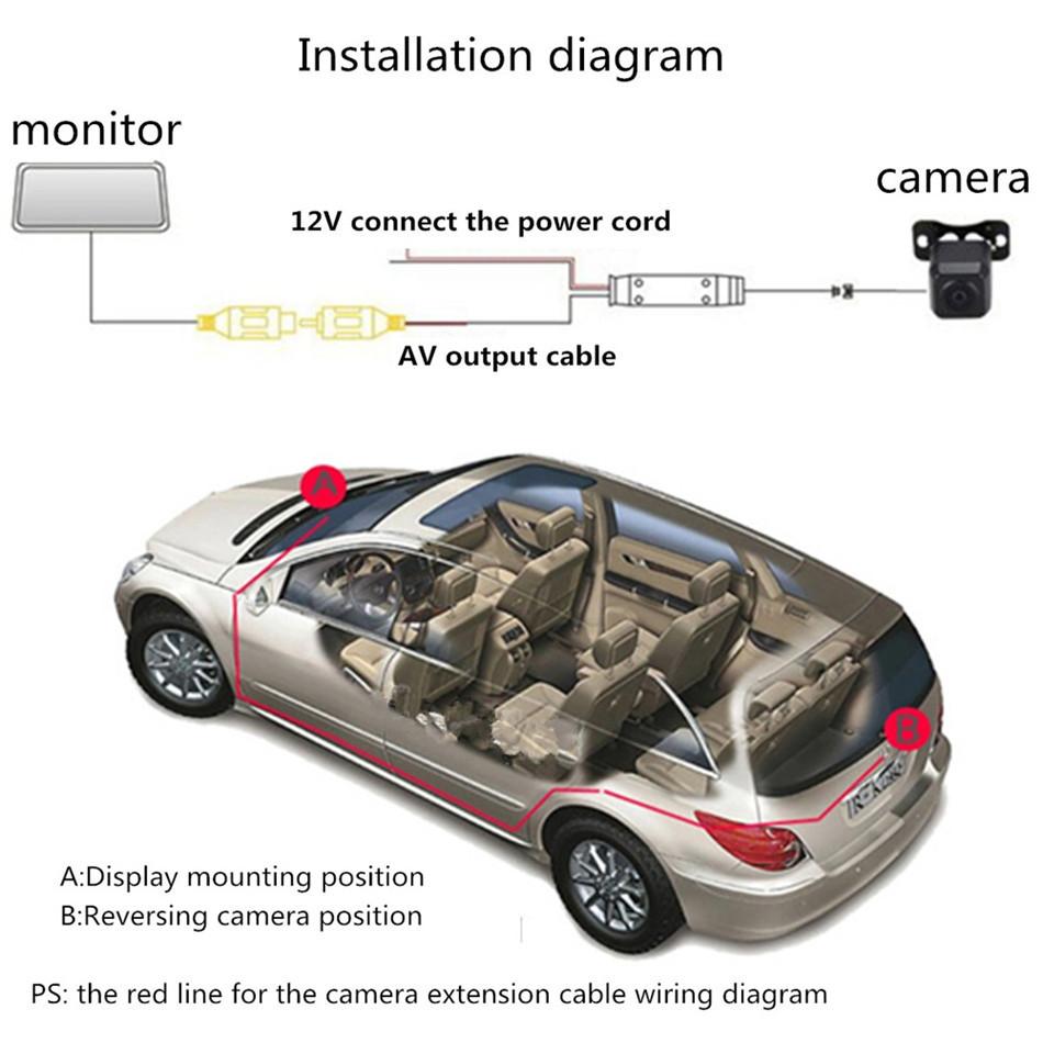 Waterproof 43 Inch Tft Lcd Monitor 480tvl 28mm 170 Lens Angle Reversing Camera Wiring Diagram Cmos Car Rearview Parking