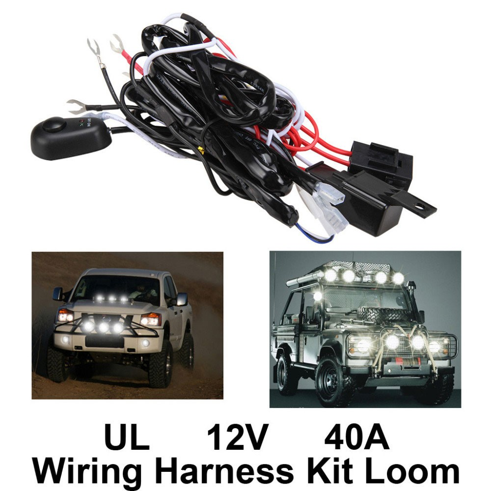 ... New High Quality Universal12V40A Car Fog Light Wiring Harness Kit Loom  For LED Work Driving Light