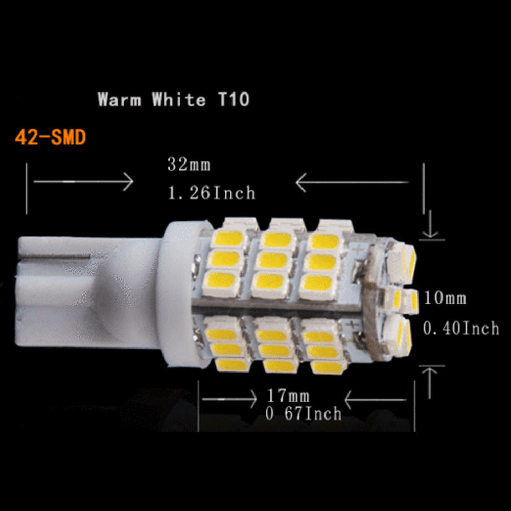 DC12V 20 x T10 Warm White 42 SMD Lights Car Backup Reverse LED Bulbs 921 912 906 168 W5W Support for car truck motorcycle etc.