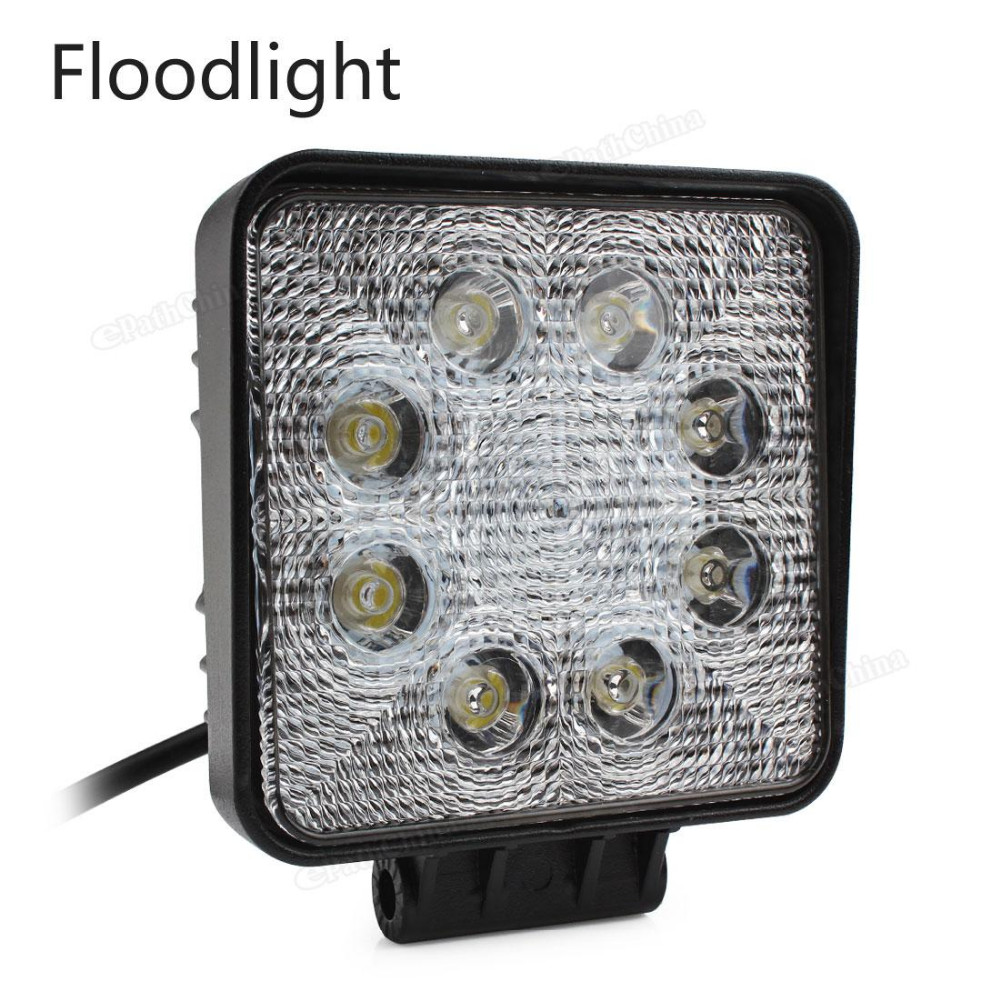 4 Inch 12V 24V 1600LM 24W Waterproof Square LED Work Light for Motorcycle Tractor Boat 4WD Offroad SUV ATV