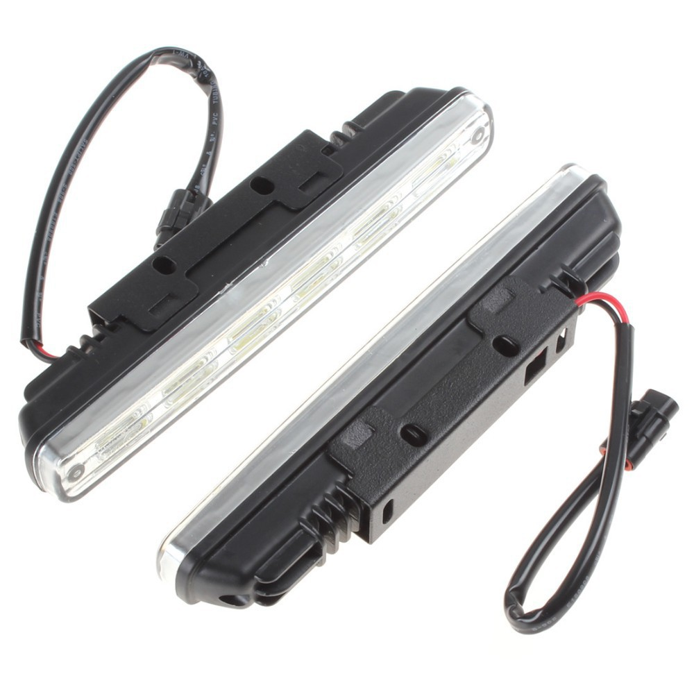 2 x Universal DC 12V 6 x 1W COB LED Daytime Running Light Super White Car DRL Lamp With Installation Bracket For Vehicles