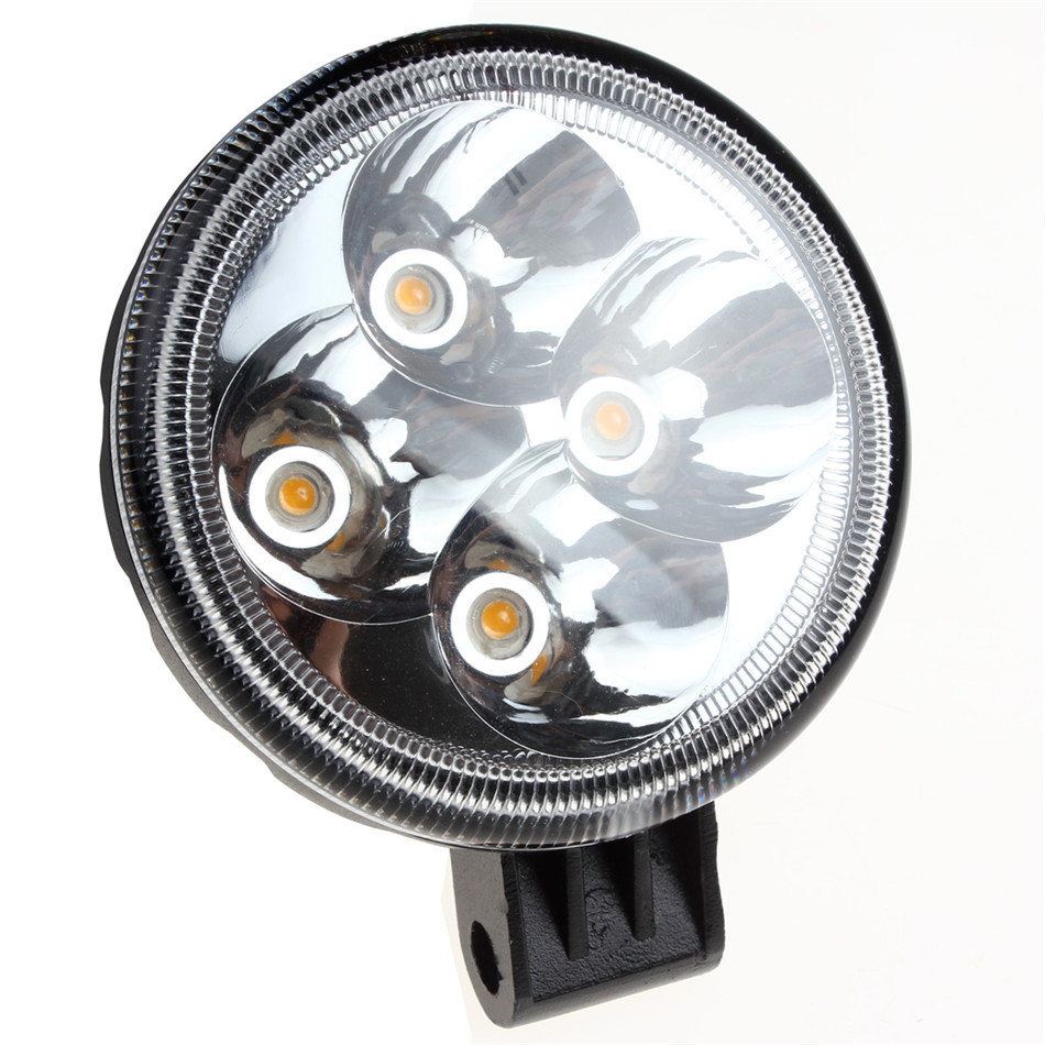 Universal 3 X 2 Inch Waterproof Rounded 12W Yellow LED Light Working Lamp for Automobile SUV Truck Lorry Motorcycle