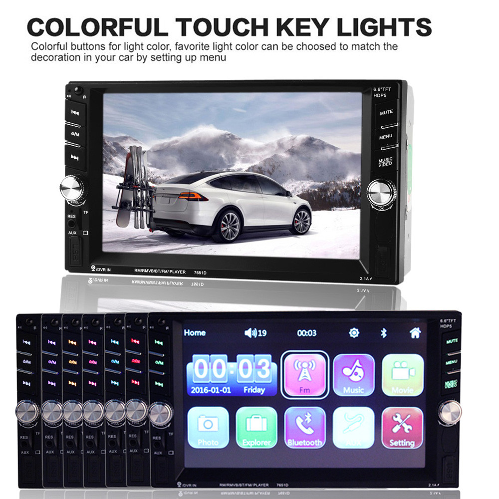 Universal 6.6 HD Touch Screen Car Bluetooth Audio Radio In Dash Stereo USB MP5 Player 2PCS 5 200W Stereo Speakers
