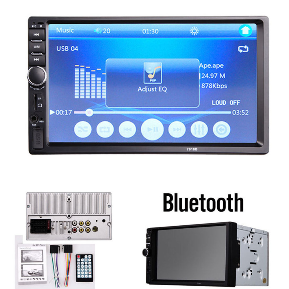 7018B 7 Inch LCD HD Double DIN Car In Dash Touch Screen Bluetooth Car Stereo FM MP3 MP5Radio Player with Wireless Remote Control