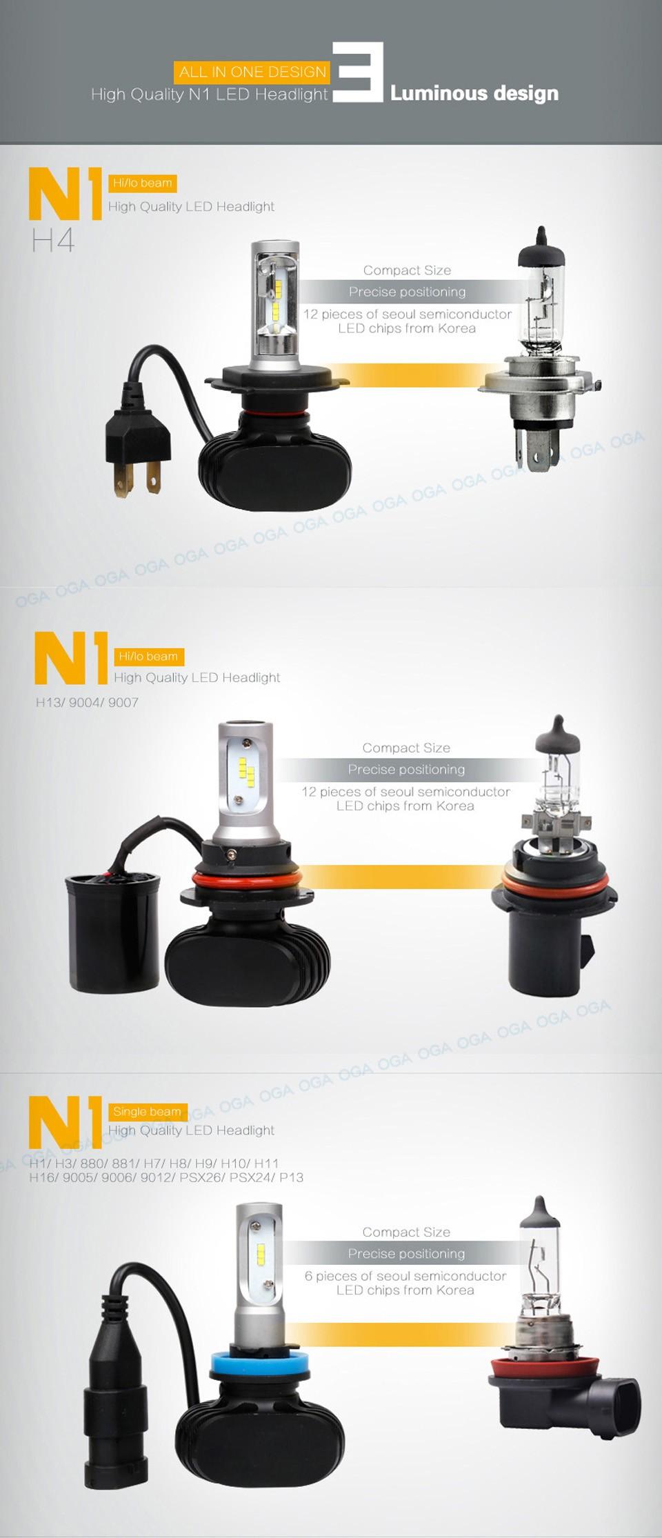OGA 2PCS 50W 8000Lumens H7 LED Auto Head Lamp Car Headlight Kit Fog