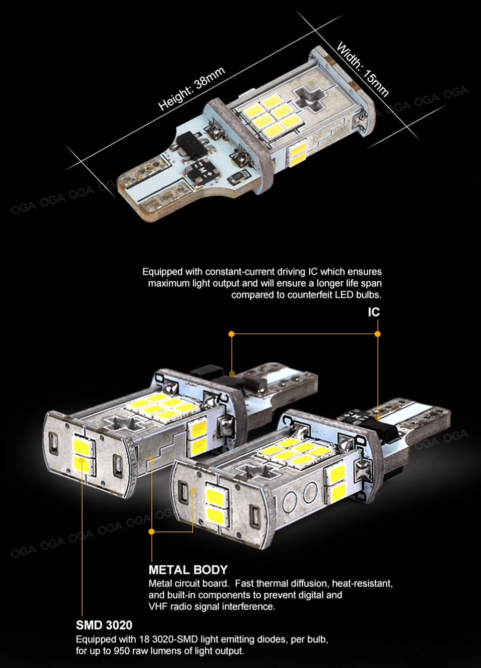 OGA 2 PCS New Upgrade Extremely Bright High Power Canbus SMD3020 912 921 T15 W16W Car LED Back up Light Auto Reverse Lamp Bulb
