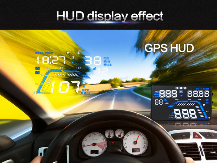 Universal Q7 5.5 Auto Car HUD GPS Head Up Display Speedometers Overspeed Warning Dashboard Windshield Project