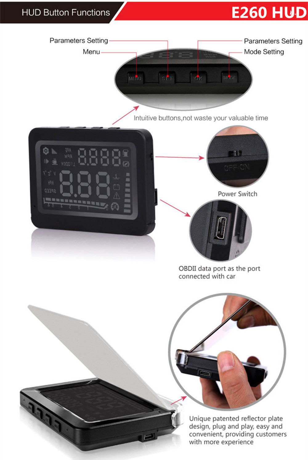 Newest E260 4 Inch Car HUD Head Up Display Projector OBD II Speedometers with Speed Alarm Fuel Consumption