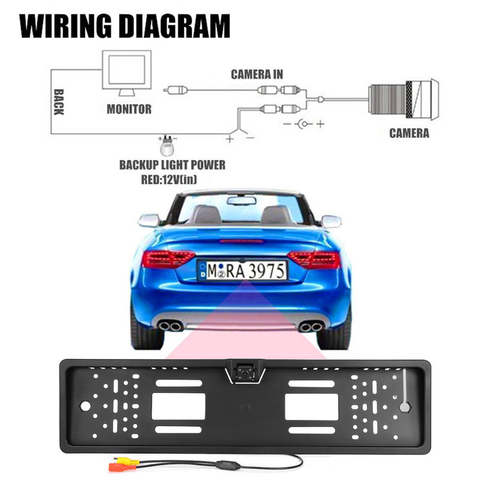 170 Degree Eu Car License Plate Frame Auto Reverse Rear View Backup Night Vision Camera Wiring Diagram With Waterproof