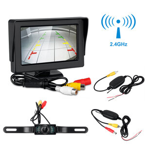 "4.3/"" LCD Car Rear View Backup Monitor Wireless Parking Night Vision Camera Kit"