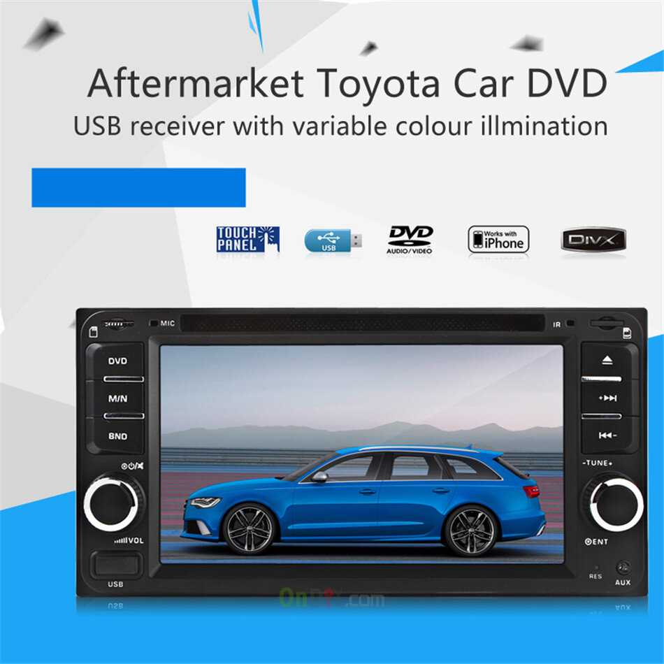 Universal Multi Function 6.5 Inch DVD Radio USB MP3 Player For Toyota  Corolla Camry Kluger Hiace RAV4 Yaris Echo