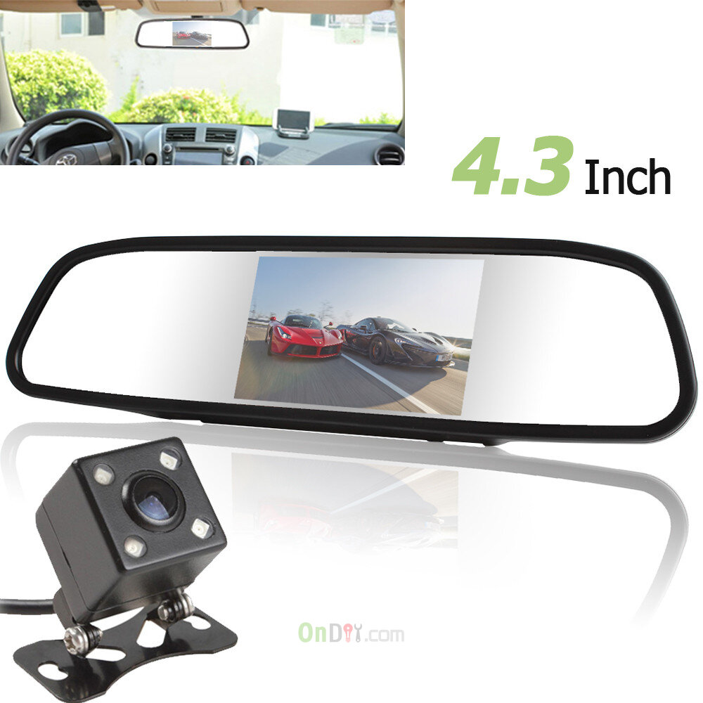 480 x 272 TFT-LCD 4.3 Inch Screen Car Rear View Mirror Monitor+420 TV Lines Night Vision Camera with 170 Degrees Wide Angle Lens