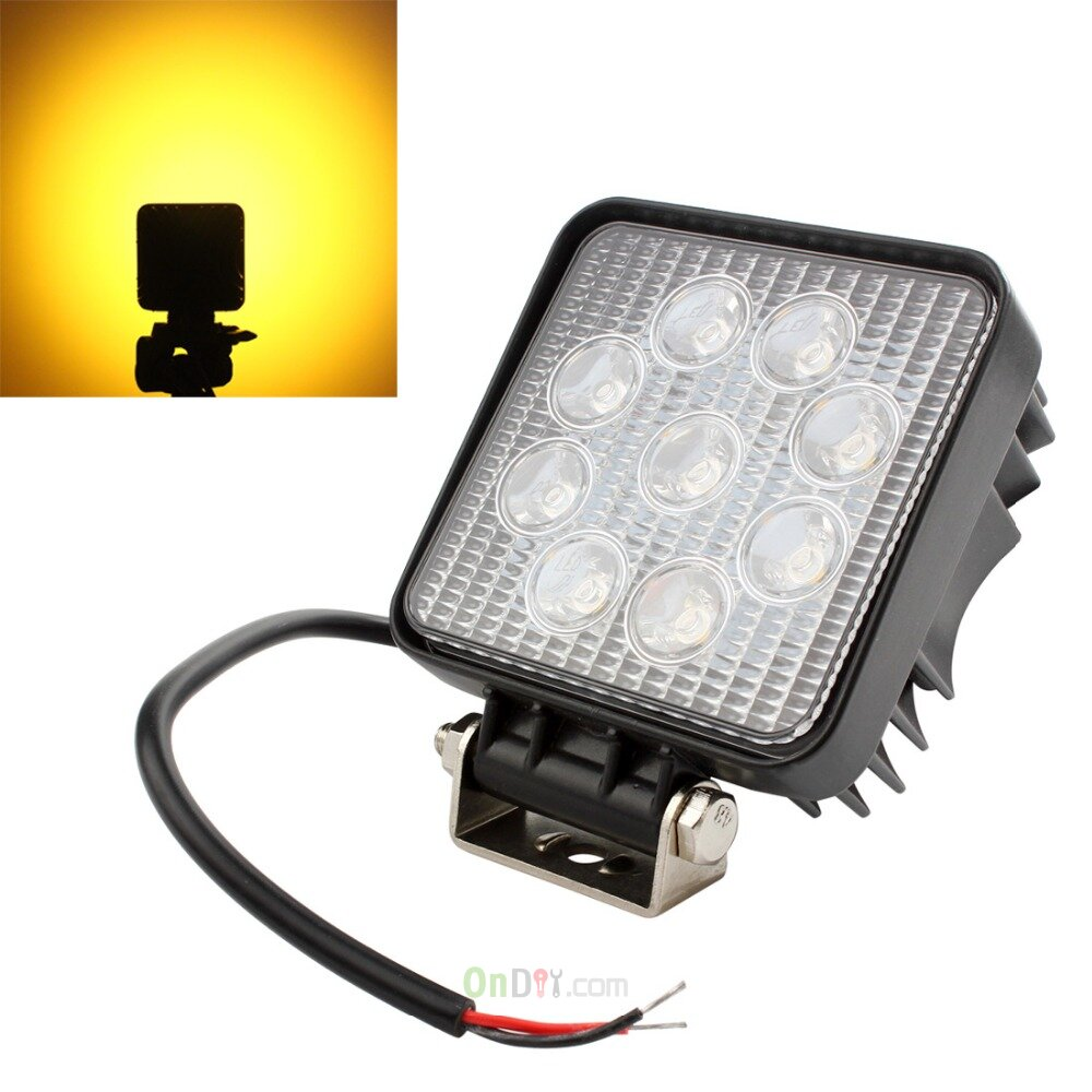 "Led Spotlight Truck: 4"" 27W Square Yellow Light LED Spotlight Car Work Light"