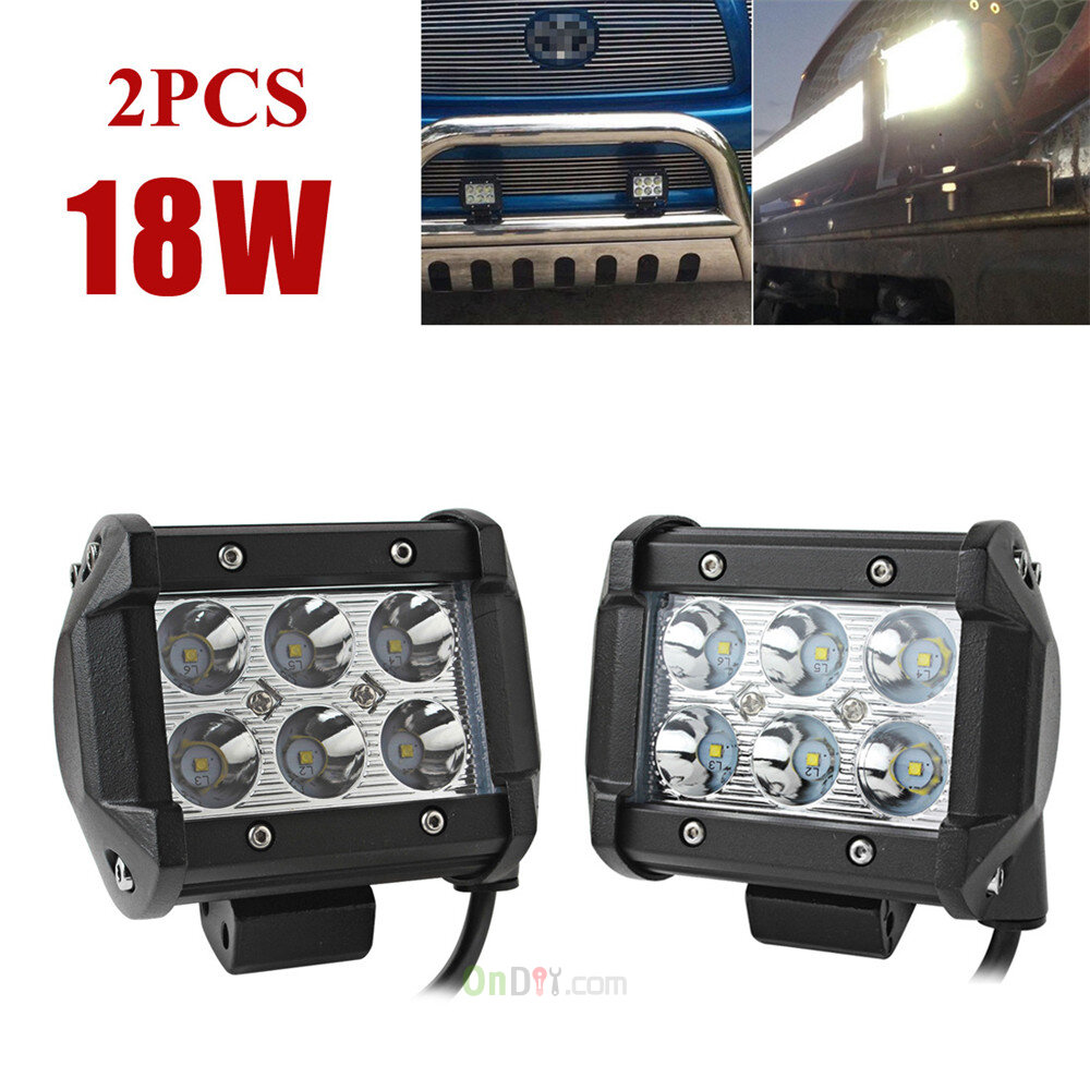 2x 4inch 1800lm 18WCree Led Light Bar Work Spot/Flood Lamp Offroad Boat UTE  Car Truck SUV 12 30V DC Suitable For Van Pick Up Etc | On DIY