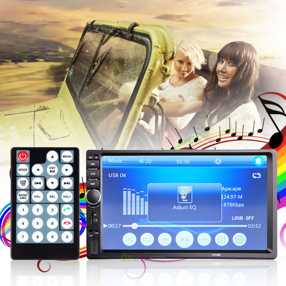 7018B 7 Inch LCD HD Double DIN Car In-Dash Touch Screen